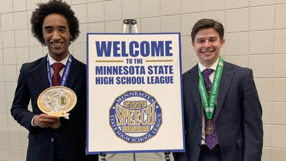 Roseville Area High School seniors Jason Sobieck and Kellin Robinson were finalists in the state speech competition!