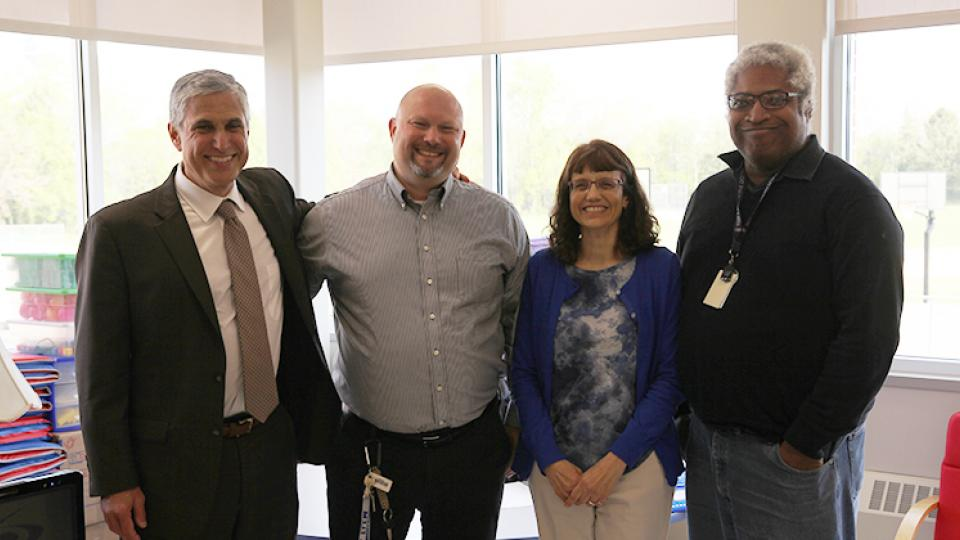Principal Garin Bogenholm took board members on a tour of newly rebuilt classrooms at Little Canada Elementary this week.