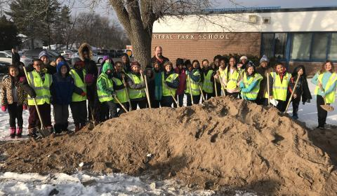STUDENTS AND STAFF BREAKING GROUND