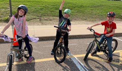 Students participated in a Bike Rodeo.