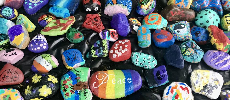 Parkview's PEACE Path. Each rock is uniquely painted by one of a student or staff member.